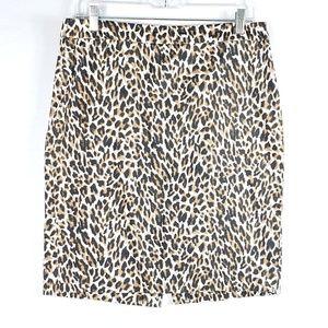 J. Crew The Pencil Skirt Leopard Print